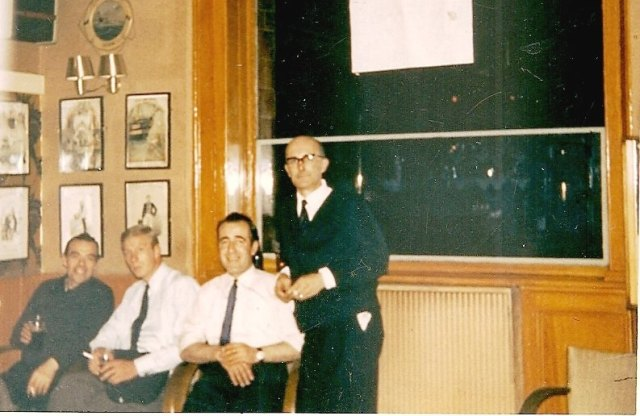 Staff having a well earned drink after a busy night at the Waterman's 1965. From left to right - Harry, Johnny Whitear, unknown barman, Licensee Gordon Alltoft. Photo courtesy of Tony Alltoft.