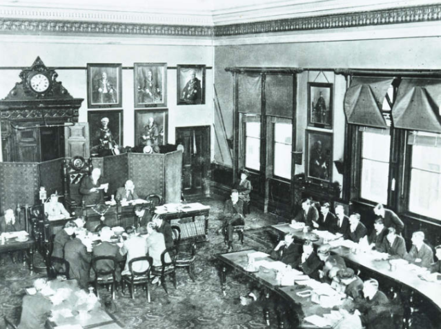 Final meeting of the Poplar Council offices, September 1921