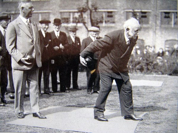 George Lansbury playing bowls at the formal opening of Jubilee Crescent.