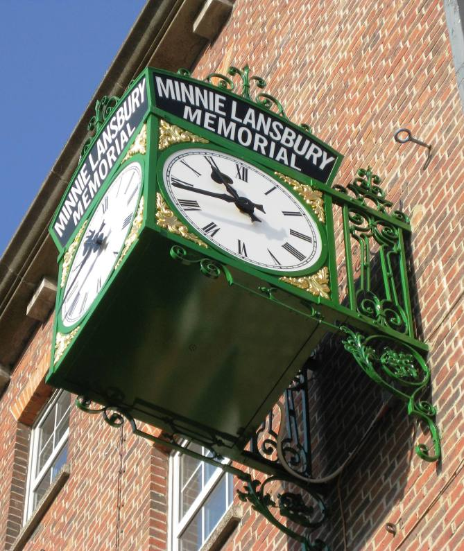 Minnie Lansbury Memorial Clock, on the side of Electric House, Bow Rd. Recently restored thanks to efforts of Jewish East End Celebration Society