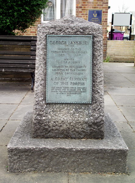 George Lansbury Memorial,on the site of his home, 39 Bow Road