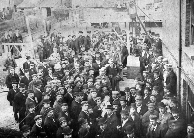 Laying the Foundation Stone for the Progressive Club. Pier Street 1897. My grandfather, my father's 21013140436